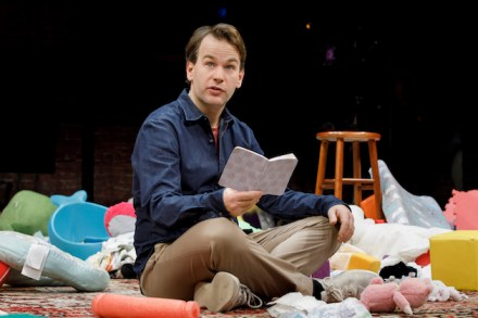 "In ""The New One,"" Mike Birbiglia's latest monologue, it's not clear what the show is about until his seemingly random jokey anecdotes suddenly focus on what it's like for him to be a first-time father -- and suddenly, the detritus of babyhood (stuffed toys, little plastic furniture crumpled sheets, etc) are abruptly dumped on the stage from on high, surrounding him. (Something similar happened in Collective Rage, but it wasn't just one moment. Items dropped from the ceiling as needed throughout the play.)"