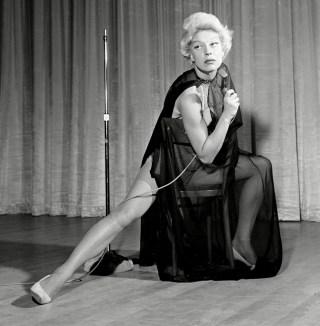 In her nightclub act as Marlene Dietrich