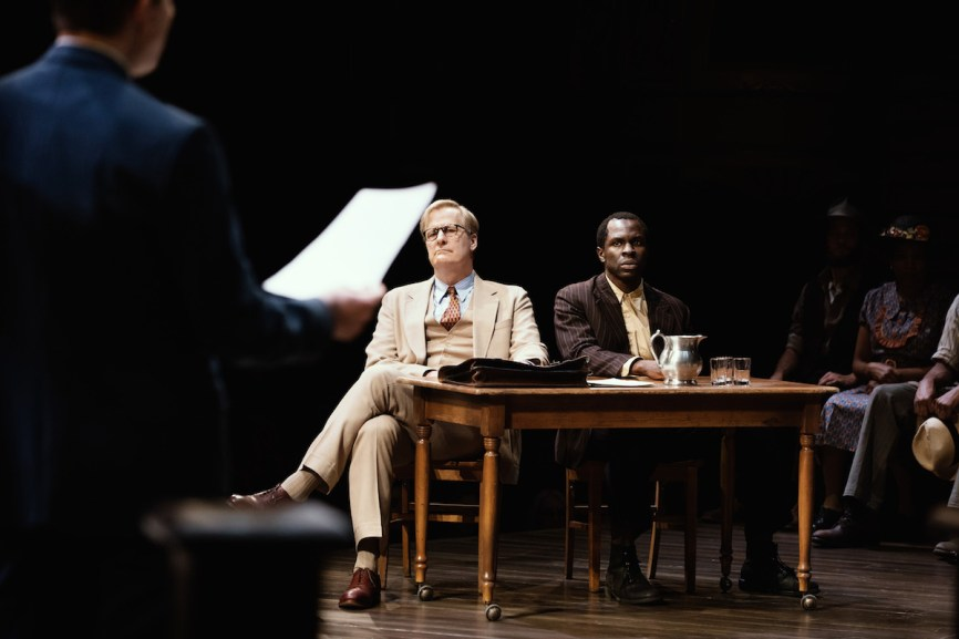 Jeff Daniels as Atticus Finch and Gbenga Akinnagbe as Tom Robinson in To Kill A Mockingbird photo Julieta Cervantes