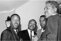 Civil rights leaders during the 1964 Democratic National Convention. (L-R) Rev. Ralph David Abernathy, a leader of the successful Montgomery bus boycott, the Dr. Martin Luther King, Jr., Aaron E. Henry, chairman of the Mississippi branch of the N.A.A.C.P for three decades, and Bayard Rustin