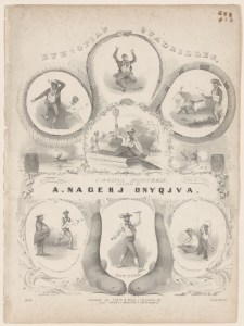 Ethiopian quadrilles,: danced and sung by the Virginia minstrels, a group that was ironically formed in New York. It is credited with such still-popular songs as Jimmy Crack Corn. NYPL.