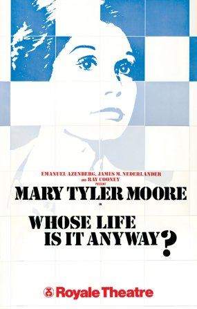 "For this play about a hospital patient, the producers wanted something hopeful and upbeat, not depressing. ""In my design I chose to focus on the white tiles one finds in most hospitals. These blocks were then pieced together to form the portrait"" -- first of star Tom Conti and, then, of his replacement a year later, Mary Tyler Moore."