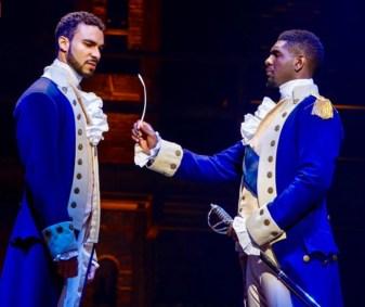 "Austin Scott as Alexander Hamilton and Carvens Lissaint as George Washington, the new cast members of ""Hamilton"" on Broadway."