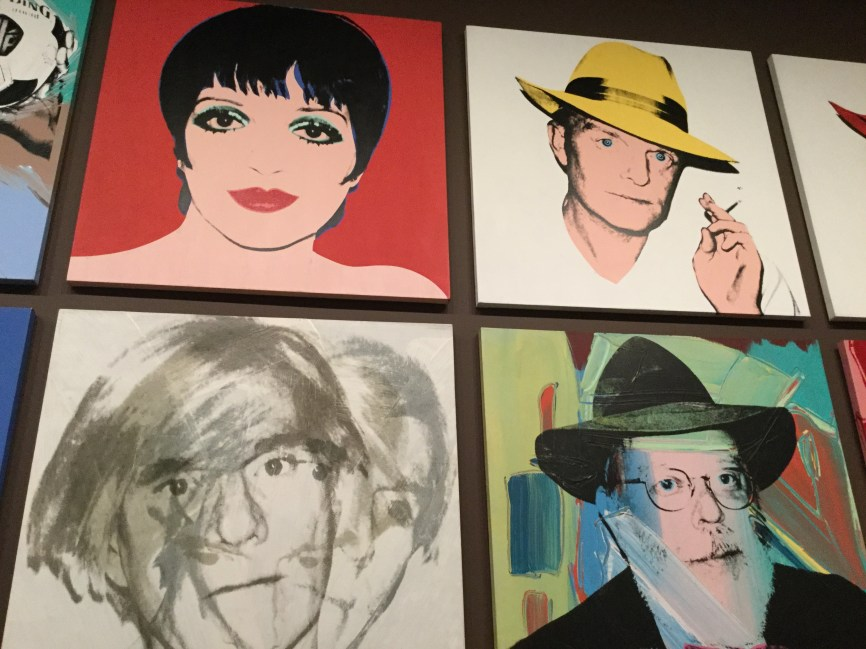Warhol portraits at Whitney exhibition, clockwise from top left: Liza Minnelli, Truman Capote, critic Henry Geldzahler, Andy Warhol self-portrait