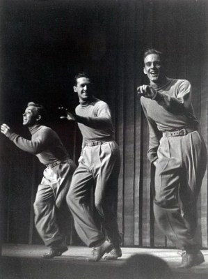L to R: Bob Scheerer, Cliff Ferre, and Bob Fosse in the Broadway show, Dance Me A Song, which marked the Broadway debut of Fosse at the age of 22.
