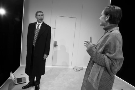 Peter Francis James as Barack Obama and Laurie Metcalf as Hillary Clinton