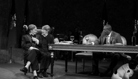 Ruth Wilson as the Fool, Glenda Jackson as King Lear and John Douglas Thompson as the Earl of Kent