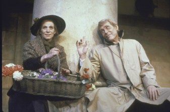 "Actor Peter O'Toole as Henry Higgins and Actress Amanda Plummer as Eliza Doolittle posing in the play ""Pygmalion,"" 1987"