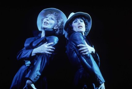 """Gwen Verdon as Roxie Hart & Chita Rivera as Velma Kelly in scene fr. the original Broadway production of the musical """"Chicago."""" (New York), 1975. Fosse directed, choreographed and wrote the book."""