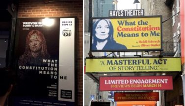 What The Constitution Means to Me poster Off Broadway vs. Broadway marquee