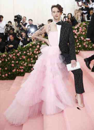 Michael Urie in a combination gown and suit by Christian Siriano