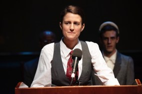 Claire Mikelle Anderson as Vice President Henry A. Wallace. In the background are (left) Charles Everett as Harry Truman and Daniel John Serpati as his wife Bess Truman