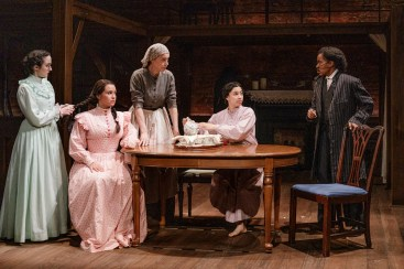 "The Primary Stages production of Little Women. Written by Kate Hamill and based on the novel by Louisa May Alcott. The play is directed by Sarna Lapine and features Kate Hamill as ""Meg"""