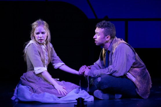 "Ladyship 3 Caitlin Cohn (Mary Reed) and Jordon Bolden (Marcus ""Finn"" Findley) in LadyShip photo by Russ Rowland"