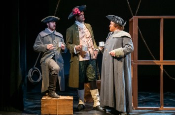Ladyship 5 Trevor St. John-Gilbert (Lieutenant Brandon Adams), Quentin Oliver Lee (Captain Josiah Adams) and Justin R.G. Holcomb (Zeke Cropper) in LadyShip photo by Russ Rowland