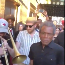 Andre De Shields takes Hadestown to the street during the Broadway Blackout
