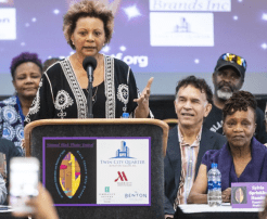 Leslie Uggams speaking at National Black Theatre Festival kickoff, next to Brian Stokes Mitchell and Sylvia Sprinkle Hamlin, the festival's executive producer and widow of founder Larry Leon Hamlin Photo by Andrew Dye, Winston Salem Journal.