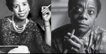 the real Lorraine Hansberry and James Baldwin