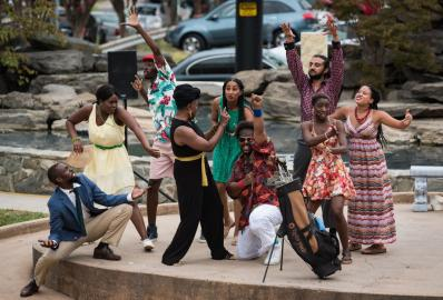 """Twelfth Night, or what you will, mon"""" was performed by North Carolina Black Repertory Company outdoors at Winston Square Park. William Shakespeare's comedy but the setting moved from the Island of Illyria to Jamaica the songs by Bob Marley"""