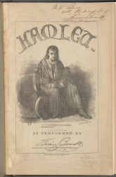 A program for Edwin Booth in Hamlet, 1866. Edwin Booth as Hamlet. He first performed the role at the Winter Garden Theatre in 1864, and last at the Broadway Theatre in 1891.