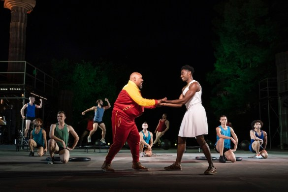 James Monroe Iglehart and Jelani Alladin (center) with 10 Hairy Legs (that's the name of a male dance company!)