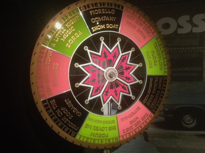 "The ""Theatre is a Gamble"" roulette wheel that Prince's associate producer Ruth Mitchell created for him as a gift in 1998, with the names of his shows."