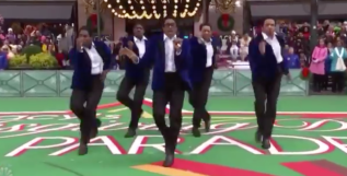 The cast of Ain't Too Proud performing at the 93rd annual Macy's Thanksgiving Day Parade