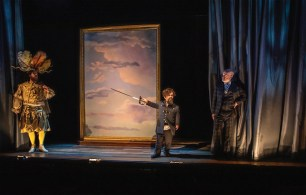 """Scott Stangland, Peter Dinklage and Christopher Gurr in """"Cyrano,"""""""