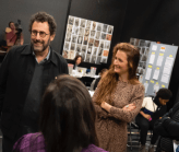 Tony Kushner at rehearsal with Mamie Gummer at A Bright Room Called Day