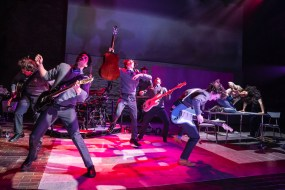 Sing Street 3 Max William Bartos, Jakeim Hart, Sam Poon, Brendan C. Callahan, Gian Perez, Brenock O'Connor, and Skyler Volpe. Photo by Matthew Murphy