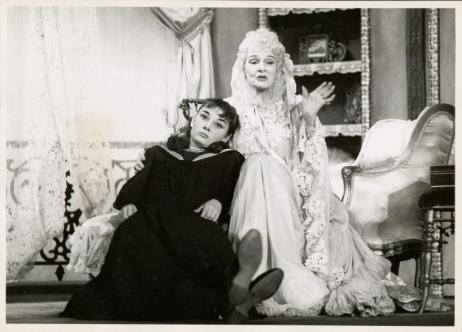Audrey Hepburn and Catherine Nesbitt in the Broadway stage production of Gigi