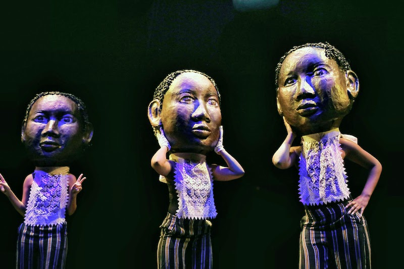 """The Transfiguration of Benjamin Banneker"" by Theodora Skipitares at La MaMa. Giant heads by Skipitares worn by members of the Banneker chorus."