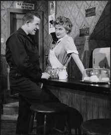 "Patrick McVey as Carl and Elaine Stritch as Grace Hoylard in William Inge's play ""Bus Stop,"" 1955. She received her first of four nominations for a Tony, this one as Best Actress in a Play."