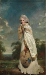 The Irish actress Elizabeth Farren made her London debut in 1777 as Kate Hardcastle in Oliver Goldsmith's She Stoops to Conquer. She was at the height of her career when this canvas was exhibited in 1790. Seven years later, she married the twelfth earl of Derby.