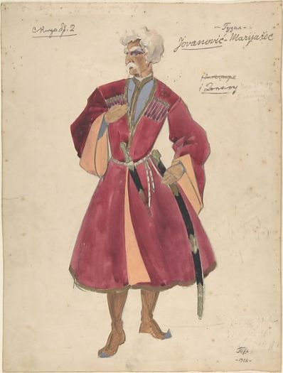 Theater costume design for warrior with a dagger and gun 1926