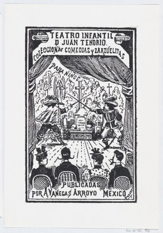 Two men dueling on a stage in front of an audience, illustration for 'Teatro Infantil de Juan Tendrio,' published by Antonio Vanegas Arroyo, 1880-1910