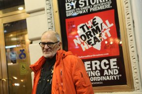 Larry Kramer in front of The Normal Heart marquee