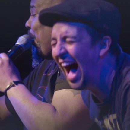 Lin-Manuel Miranda during an hip-hop improv of Freestyle Love Supreme