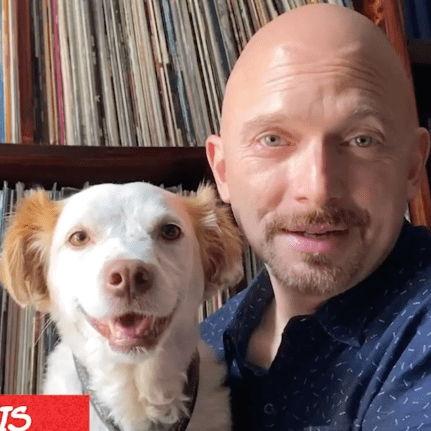 Michael Cerveris with his dog Evangeline during Broadway Barks