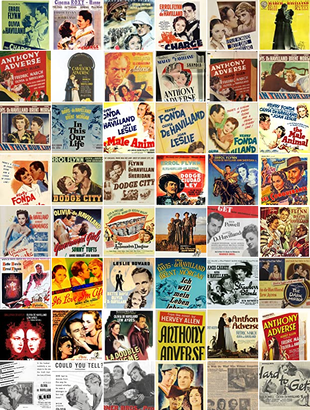The posters of some of the movies in which Olivia de Havilland starred