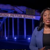 Alabama. Representative Terri Sewell In front of the Edmund Pettus Bridge, in honor of the late Congressman John Lewis