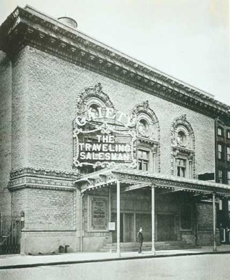 Built in 1908 on 46th Street, and proclaimed a house of hits, it struggled after 1926 -- turned first into a movie theater, then return legit for a couple of years but couldn't make it work, then Burlesque, then vaudeville, then a movie theater again. It was one of the theaters torn down in 1982 to make room for the Marriott.