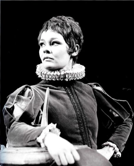 Judi Dench in Twelfth Night. Now, this is cheating a little because this photograph of her is as Viola in the RSC production in 1969. But Dame Judi made her Broadway debut in Twelfth Night in 1958, on her 24th birthday, as Maria, Olivia's woman in waiting.