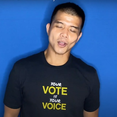 Telly Leung with Vote shirt