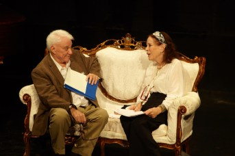 """Rex Reed and Louise Sorel performing the Peter Stone play """"Commercial Break."""""""