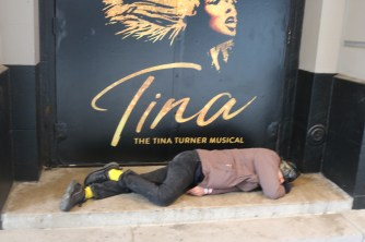 Outside the Lunt-Fontanne Theater, where Tina the musical has been nominated for 12 Tony Awards