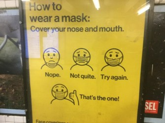 Mask poster in the subway