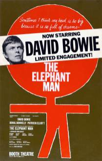 Window card, THE ELEPHANT MAN, 1980. David Bowie made his Broadway debut when he took over the role of John Merrick for a little over three months in the Fall of 1980.