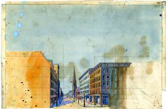 Design for a painted drop, street view, unknown production and designer. As with the pencil sketch seen in another slide, the grid transfer overlay is clearly seen here. But in this case, the designer has painted in the colors that would be used for the final drop.
