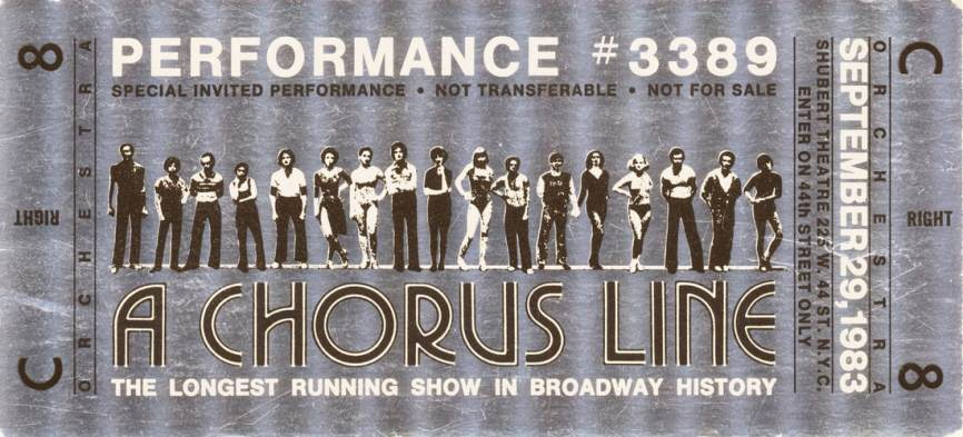 Special silvered souvenir ticket for the performance that marked the original run of A CHORUS LINE assuming the honor of becoming the longest-running Broadway show up to that time, September 29, 1983.